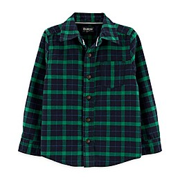 OshKosh B'gosh® Toddler Big Flannel Plaid Shirt in Green/Navy