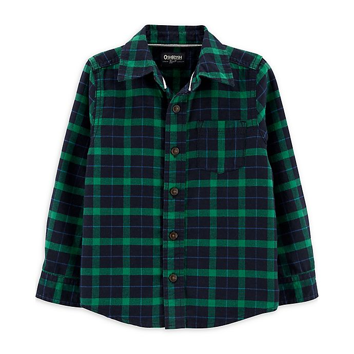 Alternate image 1 for OshKosh B'gosh® Toddler Big Flannel Plaid Shirt in Green/Navy