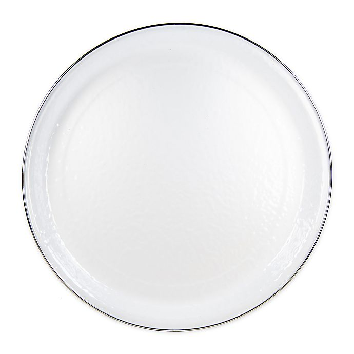 Solid White 20 Inch Round Serving Tray, Coffee Table Tray Round White
