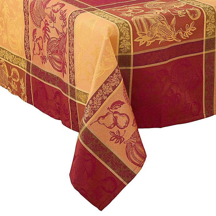 Alternate image 1 for Saro Lifestyle Thanksgiving Jacquard Tablecloth in Red