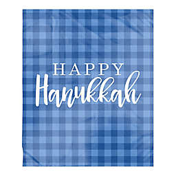 Designs Direct Happy Hanukkah Checkered Sherpa Fleece Throw Blanket in Blue