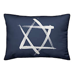 Designs Direct Brush Stroke Star of David 14-Inch x 20-Inch Throw Pillow in Blue