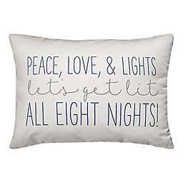 Designs Direct Peace Love and Lights 14-Inch x 20-Inch Throw Pillow in White