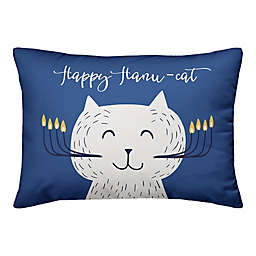 Designs Direct Happy Hanu-Cat 14-Inch x 20-Inch Throw Pillow in Blue