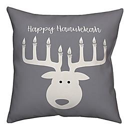 Designs Direct Deer Menorah 18-Inch Square Throw Pillow in Grey