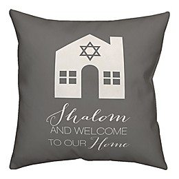 Designs Direct Shalom and Welcome To Our Home 18-Inch Square Throw Pillow in Grey