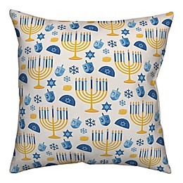 Designs Direct Hanukkah Pattern 18-Inch Square Throw Pillow in Blue