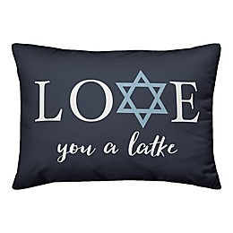 Designs Direct Love You A Latke 14-Inch x 20-Inch Throw Pillow in Blue