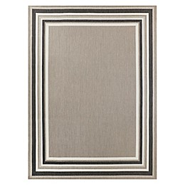 Destination Summer Miami Border Indoor/Outdoor Rug in Grey