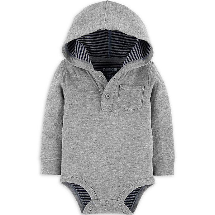 Alternate image 1 for OsghKosh B'gosh® Hooded Bodysuit in Heather