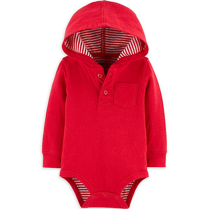 Alternate image 1 for OsghKosh B'gosh® Hooded Bodysuit in Red