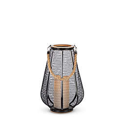 12-Inch Tall Metal Lantern with Wood Trim in Black