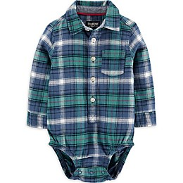 OsghKosh B'gosh® Flannel Plaid Bodysuit in Blue/Green