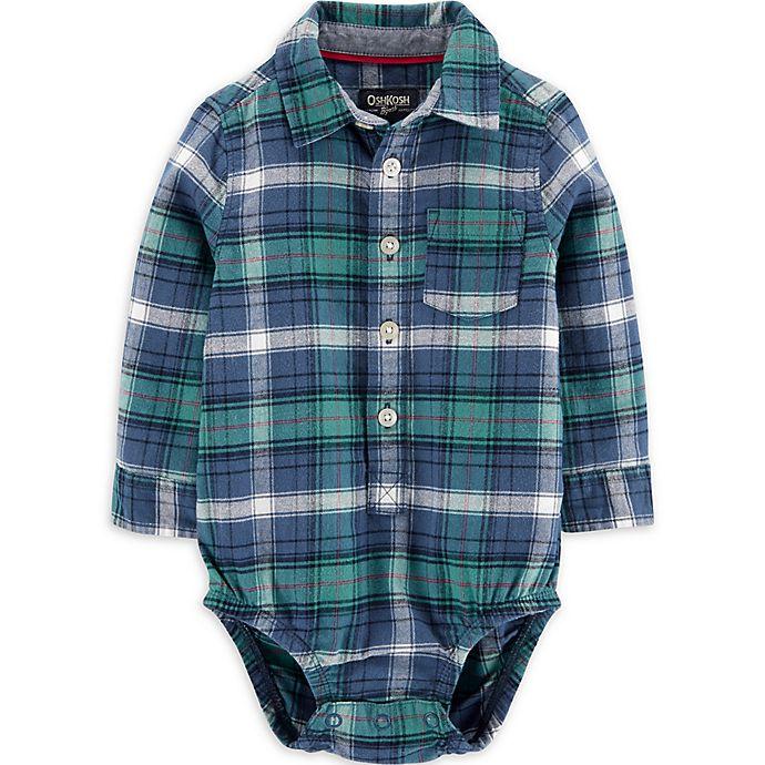Alternate image 1 for OsghKosh B'gosh® Flannel Plaid Bodysuit in Blue/Green
