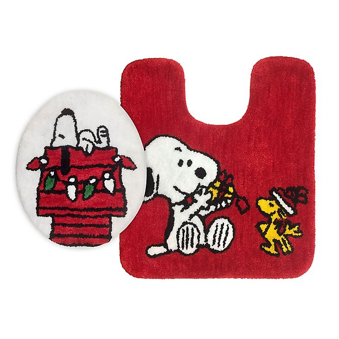 Alternate image 1 for Peanuts™ Holiday Snoopy 2-Piece Toilet Cover and Rug Set