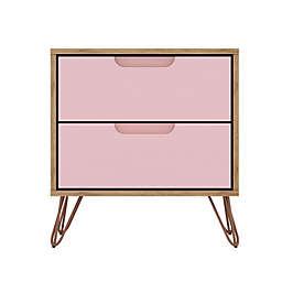 Manhattan Comfort Olivia 2.0 Nightstand in Natural/Rose Pink
