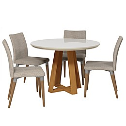 Manhattan Comfort Stella and Charles 5-Piece Dining Set in Off-White/Grey