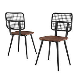 Forest Gate™ Metal Mesh Dining Chairs in Dark Walnut (Set of 2)