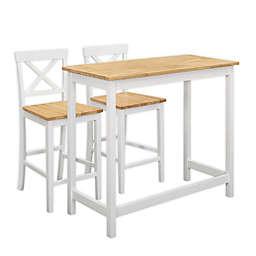 K&B Furniture 3-Piece Pub Set in White