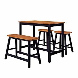 K&B Furntiure 4-Piece Pub Dining Table Set in Black