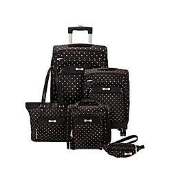Geoffrey Beene Fashion Dot 5-Piece Luggage Set in Black