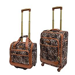 Adrienne Vittadini Leopard 2-Piece Carry On Luggage Set
