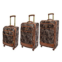 Adrienne Vittadini Leopard Print 3-Piece Spinner Luggage Set in Brown