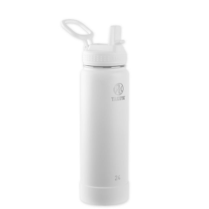 Alternate image 1 for Takeya® Actives 24 oz. Insulated Stainless Steel Water Bottle with Straw Lid in Arctic White