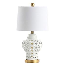 JONATHAN Y Quatrefoil Ginger Jar LED Table Lamp in White