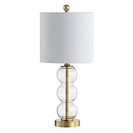 JONATHAN Y February LED Table Lamp in Clear with Linen Shade