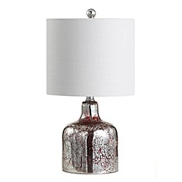 JONATHAN Y Gemma LED Table Lamp in Chrome with Linen Shade