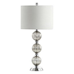 JONATHAN Y Rita LED Table Lamp in Chrome with Linen Shade