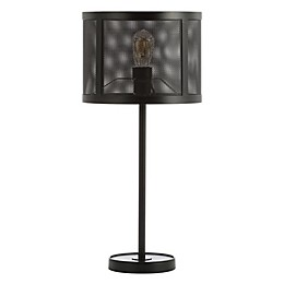 JONATHAN Y Wilcox LED Table Lamp in Black with Metal Shade