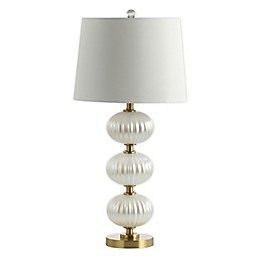 JONATHAN Y Carter LED Table Lamp in White with Faux Silk Shade
