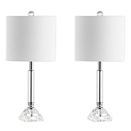 JONATHAN Y Dana LED Table Lamp in Clear with Linen Shade