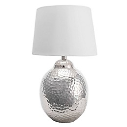 nuLOOM Rhode Hammered Aluminum Egg Table Lamp with Cotton Shade in Ivory