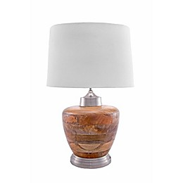 nuLOOM Olivia Wood Table Lamp with Cotton Shade in Ivory