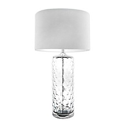 nuLOOM Mia Clear Glass Table Lamp with Cotton Shade in Ivory