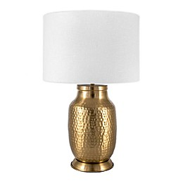nuLOOM Hammered Iron Table Lamp with Cotton Shade in Ivory
