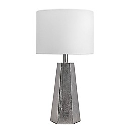nuLOOM Aluminum Prism Table Lamp in Nickel with Cotton Shade
