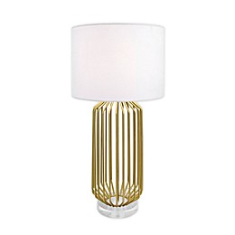 nuLOOM Caged Table Lamp in Gold with Linen Shade