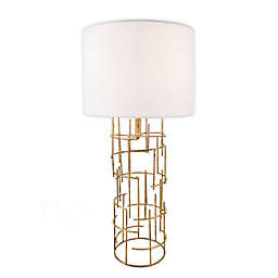 nuLOOM Cylinder Table Lamp in Gold with Linen Shade