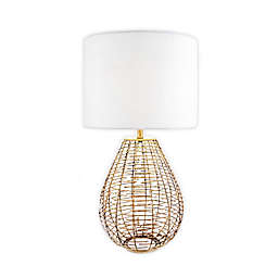 nuLOOM Woven Cage Table Lamp in Brass with Linen Shade