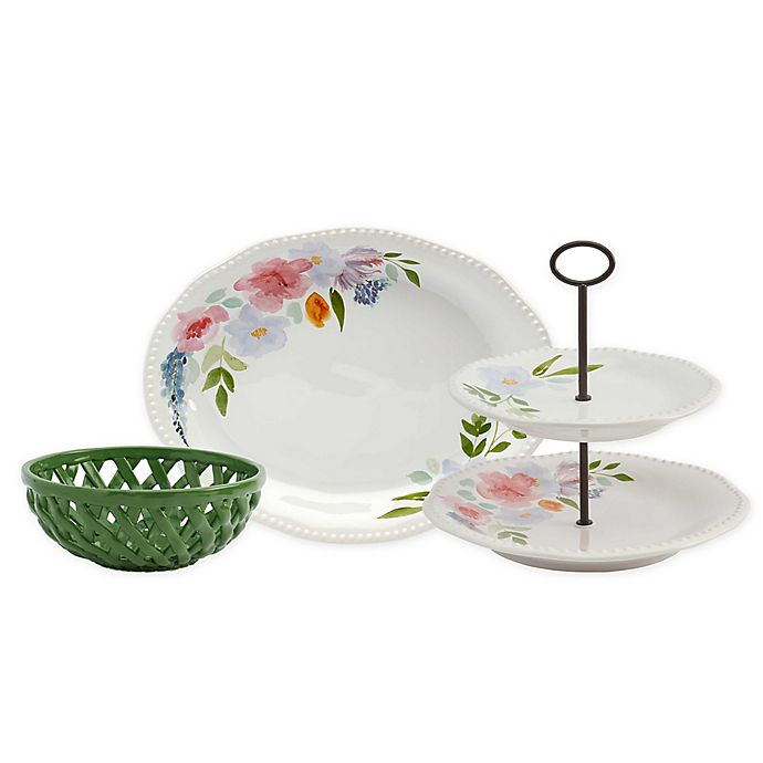 Alternate image 1 for Modern Farmhouse Home Floral Dinnerware & Serveware Collection