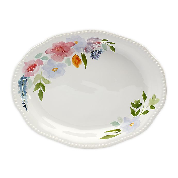 Alternate image 1 for Modern Farmhouse Home Floral 18-Inch Oval Platter