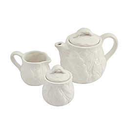 Modern Farmhouse Home Floral 3-Piece Tea Set in White