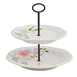Modern Farmhouse Home Floral 2-Tier Server