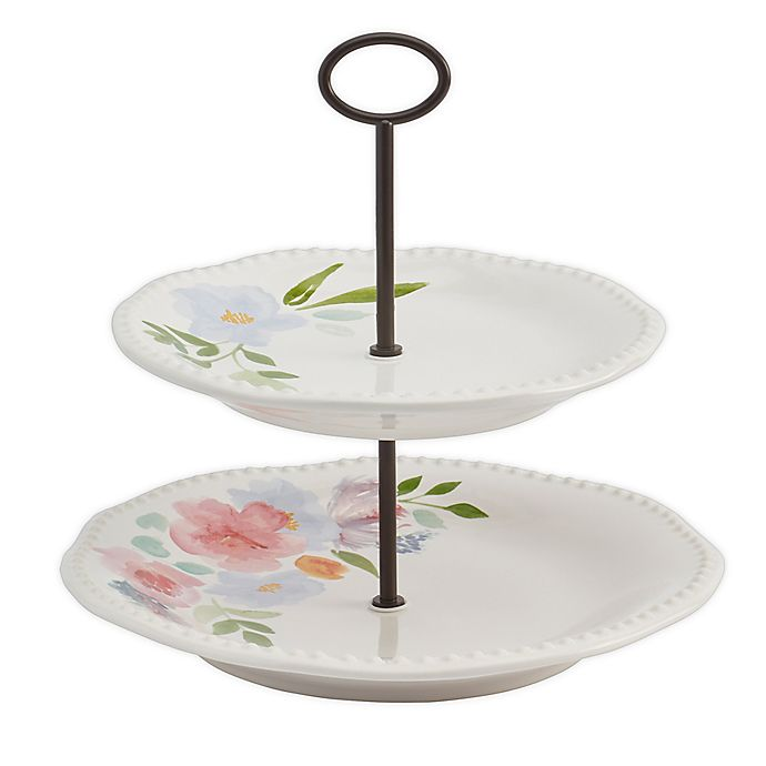 Alternate image 1 for Modern Farmhouse Home Floral 2-Tier Server