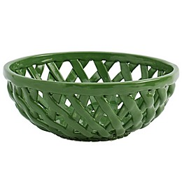 Modern Farmhouse Home Floral Bread Basket in Green