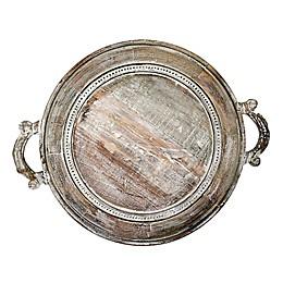 Jodhpuri™ Inc. 18-Inch Round Braided Mango Wood Tray in Brown